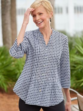 Clip Dot Gingham 3/4 Sleeve Woven Shirt