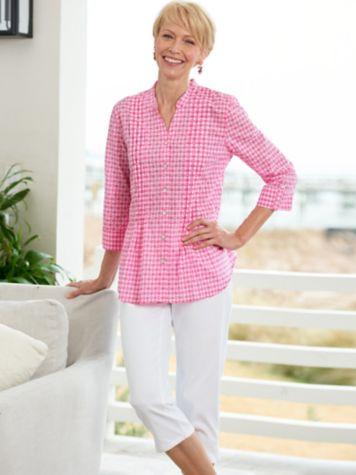 Clip Dot Gingham Shirt & Knit Denim Capris