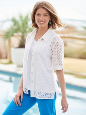 Everyday Eyelet Short Sleeve Shirt