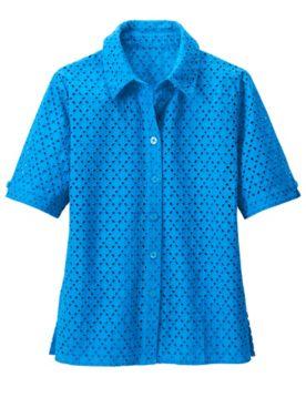 Everyday Eyelet Short Sleeve Shirt