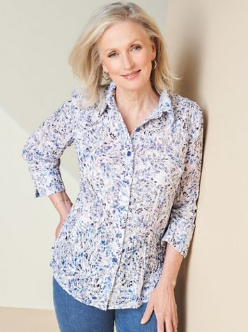 Dainty Floral Burnout 3/4 Sleeve Shirt - Image 1 of 1
