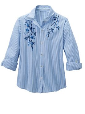 Alfred Dunner Embroidered Pinstripe Shirt