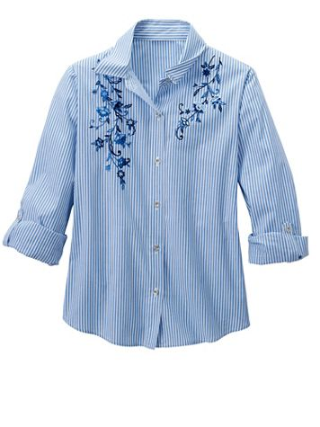 Alfred Dunner Embroidered Pinstripe Shirt - Image 2 of 2
