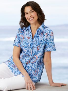 Alfred Dunner Classics Floral Paisley Camp Shirt