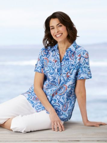 Alfred Dunner Classics Floral Paisley Camp Shirt & Classic Comfort® Capris
