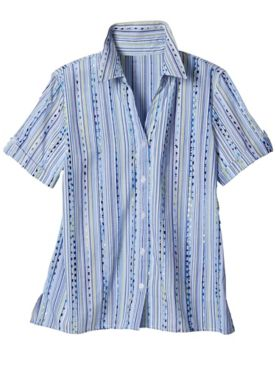 Alfred Dunner Classics Dobby Stripe Short Sleeve Camp Shirt