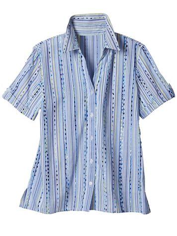Alfred Dunner Classics Dobby Stripe Short Sleeve Camp Shirt - Image 2 of 2