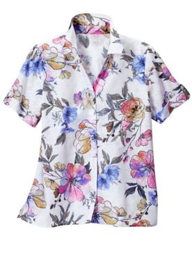 Alfred Dunner Classics Floral Bouquet Short Sleeve Camp Shirt