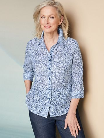 Butterfly Blues Burnout 3/4 Sleeve Shirt - Image 2 of 2