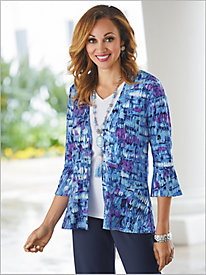 Painterly Print Peplum Jacket