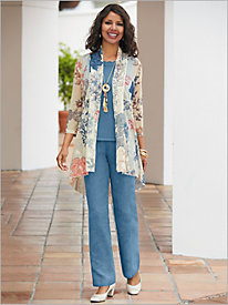 Floral Embroidered Print Jacket & Microsuede Pants