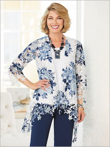 Rose Lace Print Cascade Jacket - Image 2 of 2