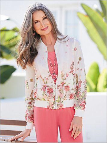 Coral Romance Floral Burnout Jacket - Image 2 of 2
