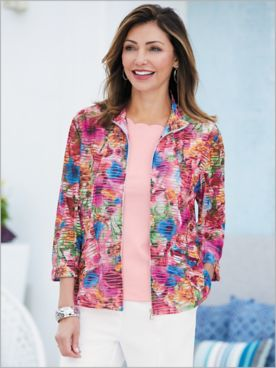 Enchanting Floral Textured Jacket