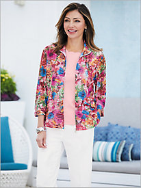Enchanting Floal Textured Jacket & Scalloped Trim Tank
