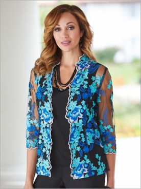 Forever Floral Embroidered Jacket & Tank by Alex Evenings