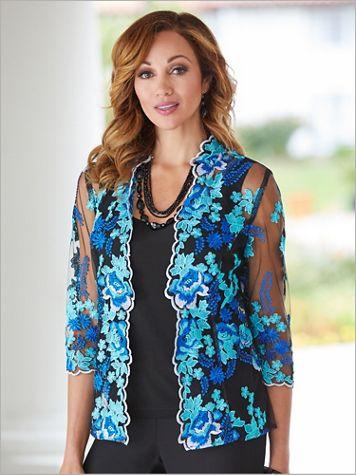 Forever Floral Embroidered Jacket & Tank by Alex Evenings - Image 3 of 3