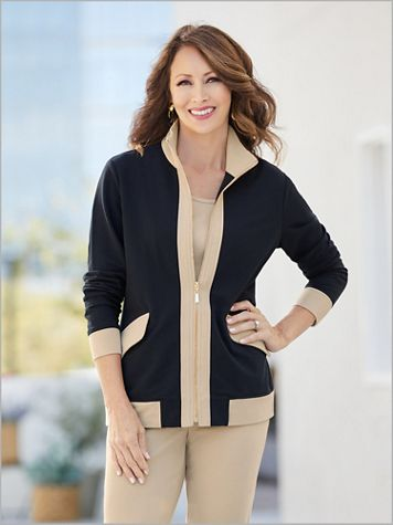 Terrific Trim French Terry Jacket by D&D Lifestyle™ - Image 2 of 2