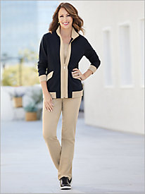 Terrific Trim French Terry Jacket & Everywhere Straight Leg Pants by D&D Lifestyle™