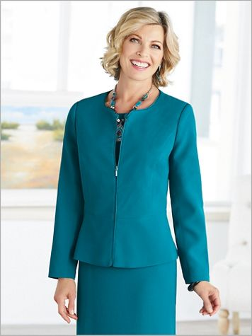 Textured Stretch Crepe Peplum Jacket - Image 1 of 4