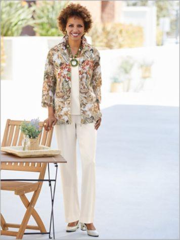 Tropical Oasis Burnout Jacket & Look-Of-Linen Separates