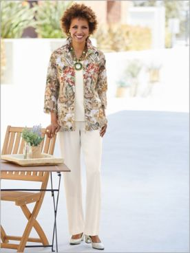 Tropical Oasis Burnout Jacket & Look-Of-Linen Separates