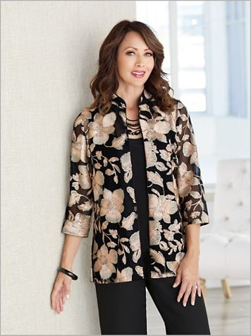 Alex Evenings Floral Embroidered Special Occasion Jacket And Tank