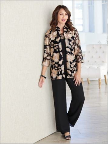 Embroidered Floral Jacket Set by Alex Evenings & Georgette Slim Leg Pants