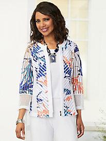 Mesh Print Zip-Front Jacket