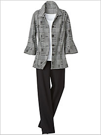 Patched Houndstooth Jacket & Ponte Pants by Brownstone Studio®