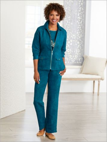 Microsuede Jacket & Flat Front Pants