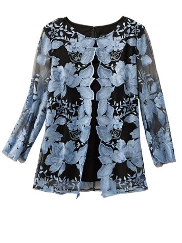 Alex Evenings Floral Lace Special Occasion Jacket And Tank - Image 1 of 2