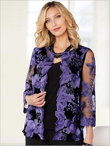 Alex Evenings Floral Lace Special Occasion Jacket And Tank - Image 3 of 3