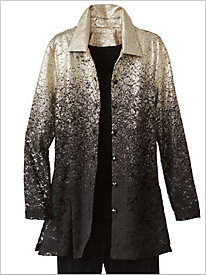 Ombré Speckled Lace Shirt Jacket