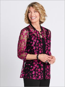 Floret Embroidered Twin Set by Alex Evenings