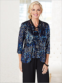 Alex Evenings Razzle Dazzle Sequin Jacket Set & Georgette Pants