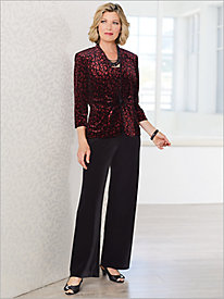 Sparkle Animal Twin Set & Velvet Pants by Alex Evenings