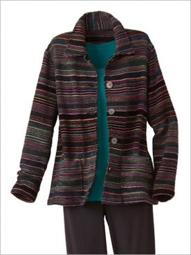 Metallic Stripe Chenille Jacket