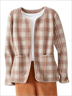 Modern Plaid Sweater Jacket