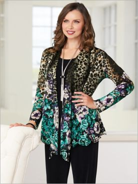 Floral Animal Border Print Jacket