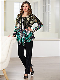 Floral Animal Border Print Jacket & Signature Knits® Separates