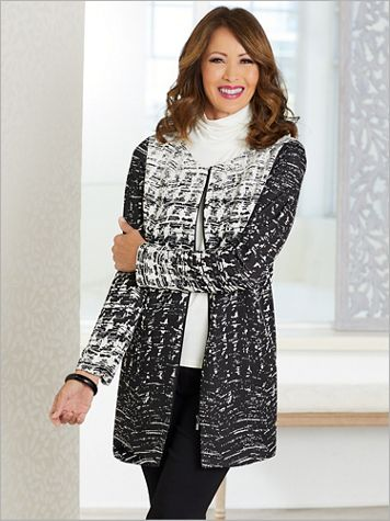 Houndstooth Novelty Knit Jacket by Picadilly - Image 2 of 2