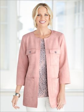 Silver Belles Stretch Suede Jacket by Ruby Rd.