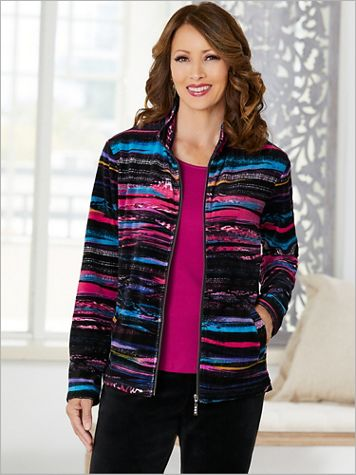 Wave Stripe Print Velour Jacket by D&D Lifestyle™ - Image 1 of 2