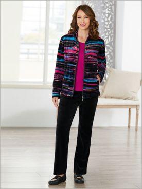 Wave Stripe Velour Jacket & Velour Pants by D&D Lifestyle™