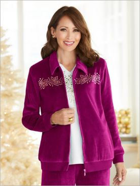 Bright Idea Velour Embellished Yoke Jacket by Alfred Dunner