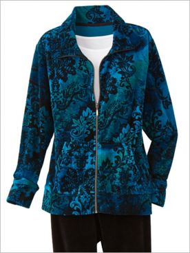 Medallion Print Velour Jacket by D&D Lifestyle™