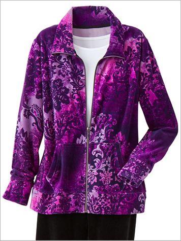 Medallion Print Velour Jacket by D&D Lifestyle™ - Image 3 of 3
