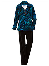 Medallion Print Velour Jacket & Velour Pants by D&D Lifestyle™