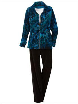 Medallion Print Velour Jacket & Velour Pants by D&D Lifestyle™